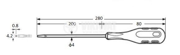 Отвертка, права, 9018-4x200, 4x200mm, Cr-V - 2