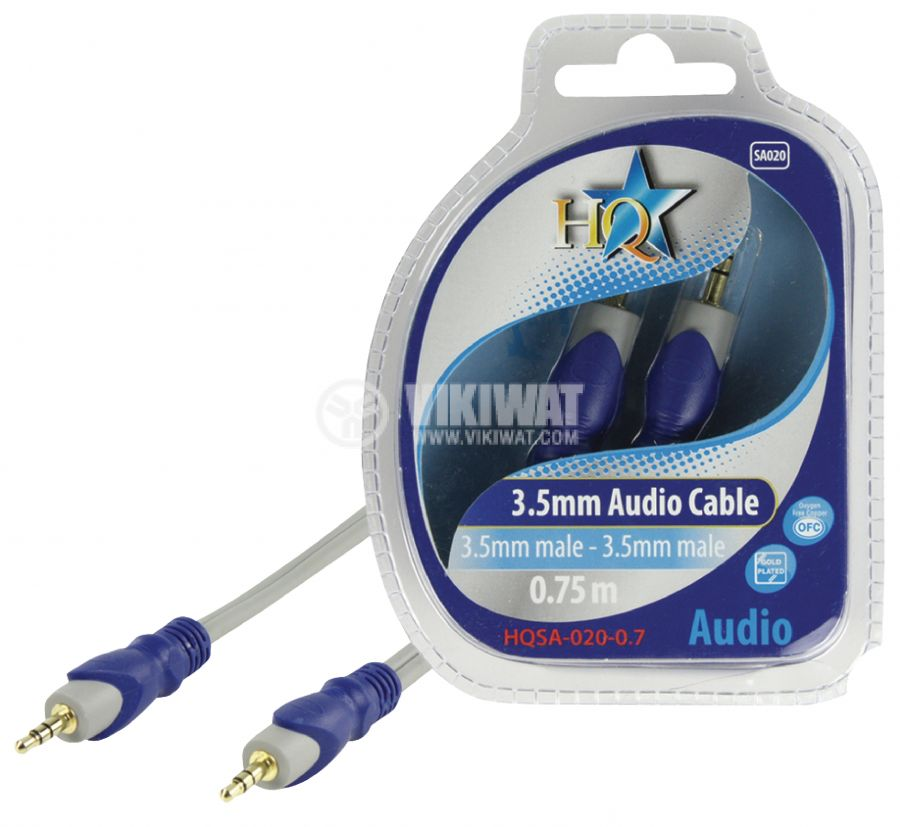 Cable, plug 3.5 stereo/m-plug 3.5 stereo/m, 0.75m - 1