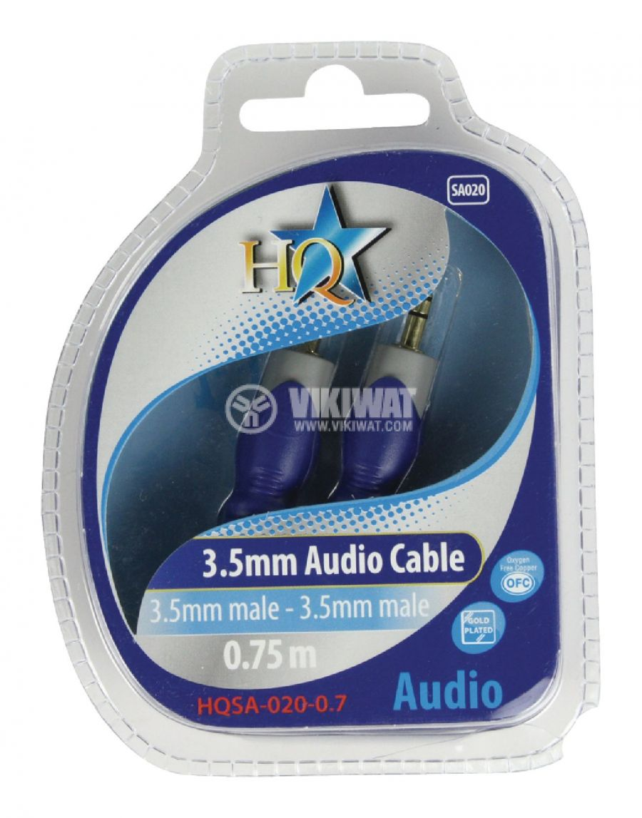Cable, plug 3.5 stereo/m-plug 3.5 stereo/m, 0.75m - 4