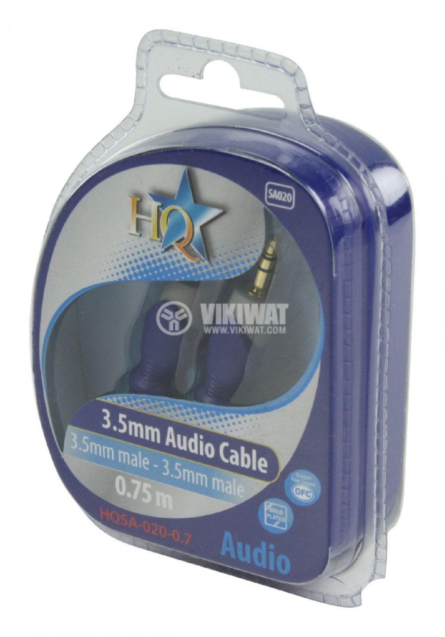 Cable, plug 3.5 stereo/m-plug 3.5 stereo/m, 0.75m - 5