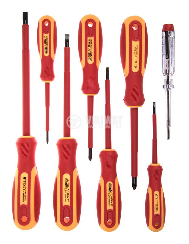 Set of insulated screwdrivers, 8 pieces, Troy T22306 - 1