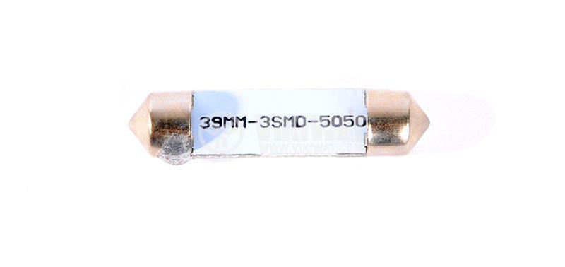 Автомобилна LED лампа, софитна, 12VDC, 1.6W, 3LED, SV8.5, студено бяла - 2