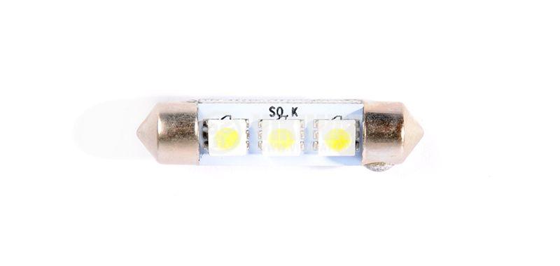 Автомобилна LED лампа, софитна, 12VDC, 1.6W, 3LED, SV8.5, студено бяла - 1
