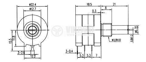 Потенциометър  линеен моно жичен 20kOhm 2W - 2