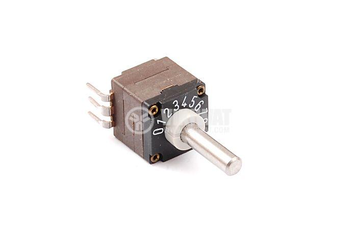 Ротационен превключвател (галета) - за печатен монтаж, 11 положения, 6 крачета , 10x10x23mm, пластмаса