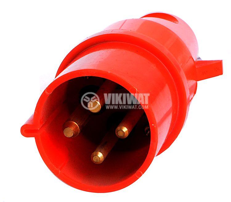 Индустриален съединител 4-ка щепсел, 32А, 380VAC - 1