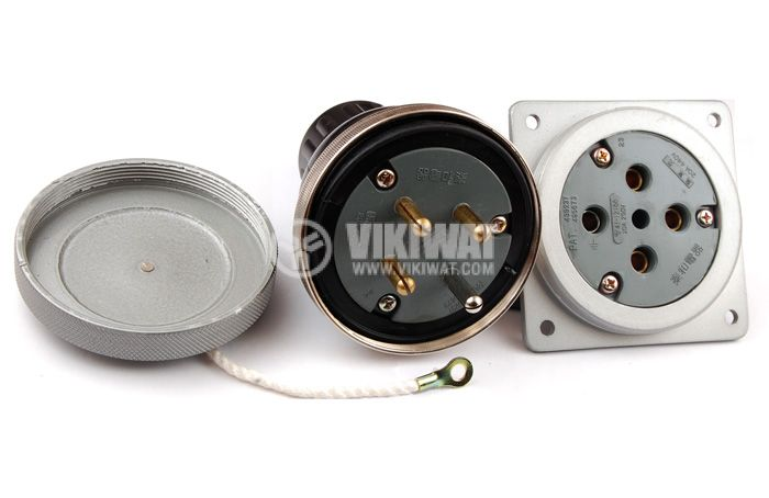 Military plug and socket, 3P+N, 250VAC, 20A