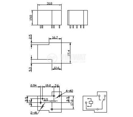 Eлектромагнитно реле SLA-12VDC-SL-C, 1NO+1NC(SPDT), 12VDC, 30A, 250VAC, PCB - 2