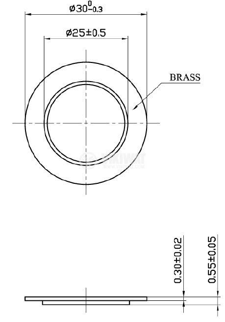 Пиезопластина, FT-35T-2.9A1, 2.9kHz, Ф35x0.55mm, без генератор - 3