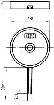Пиезо зумер, KPR-G3013, 12p-p, 75dB, 1.3kHz, Ф30x5mm, без генератор - 2
