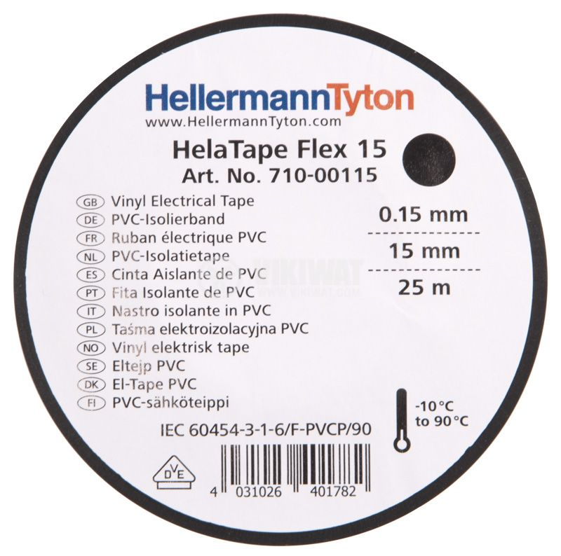 PVC ИЗОЛАЦИОННА ЛЕНТА HTAPE-FLEX15-15x25-PVC-BK, 15MM X 25M, черна - 2