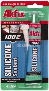 Силикон Akfix 100E, универсален, безцветен, в туба 50 ml