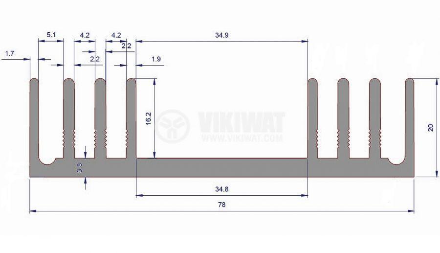 Алуминиев радиатор за охлаждане 250mm, 78x20mm - 2