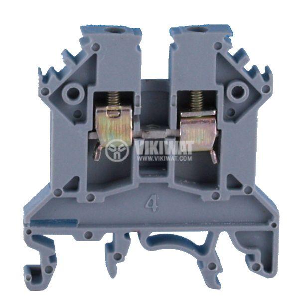 Редова клема, едноредова, SCRW 2.5U, 2.5mm2, 24A, 750V, сива - 2