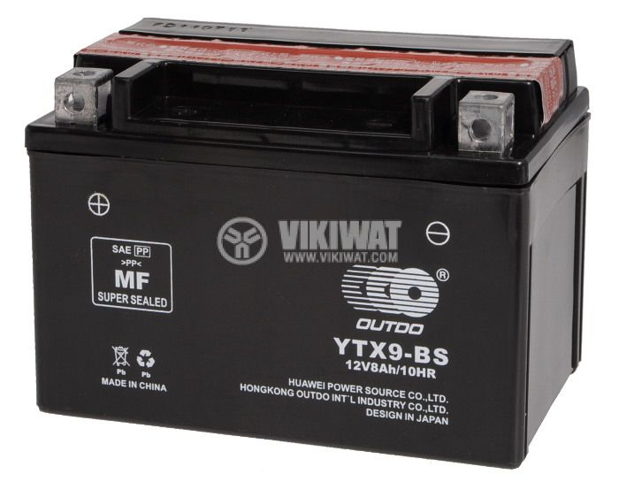 Sealed Lead-acid Battery 12V 8Ah YTX-BS with liquid electrolyte - 1