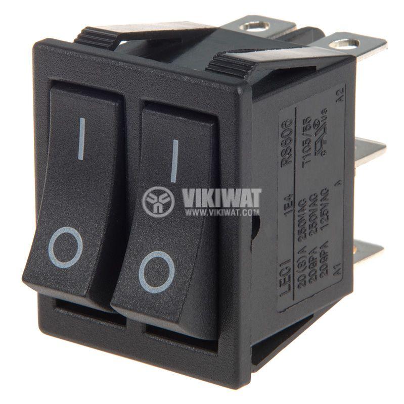 Rocker превключвател, 2x2 позиции, ON-ON, 20A/250VAC, отвор 28x22mm - 1