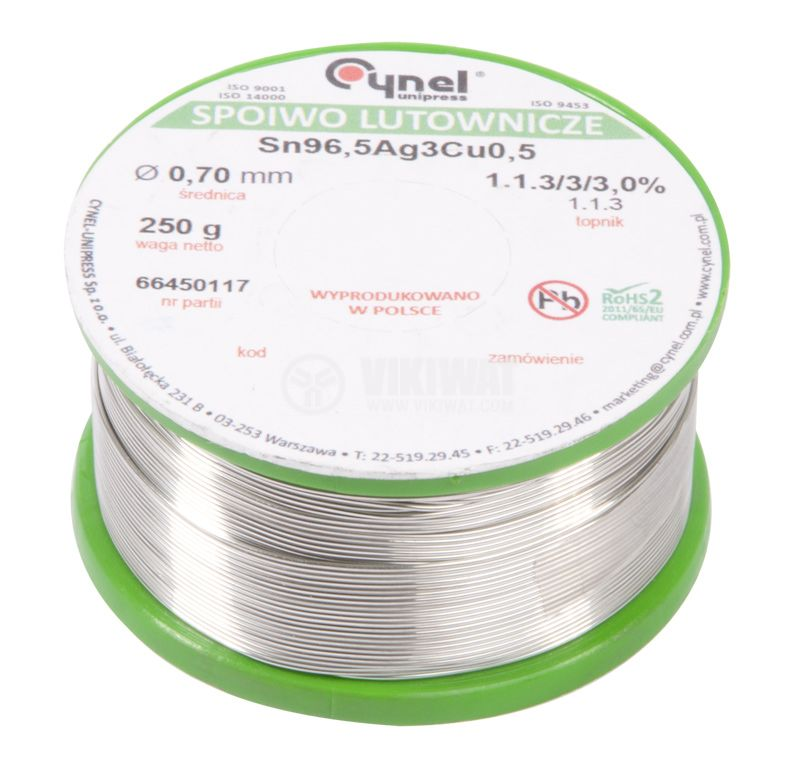 Solder wire Ф0.7 mm, 0.250 kg pack, flux content 2.5 %