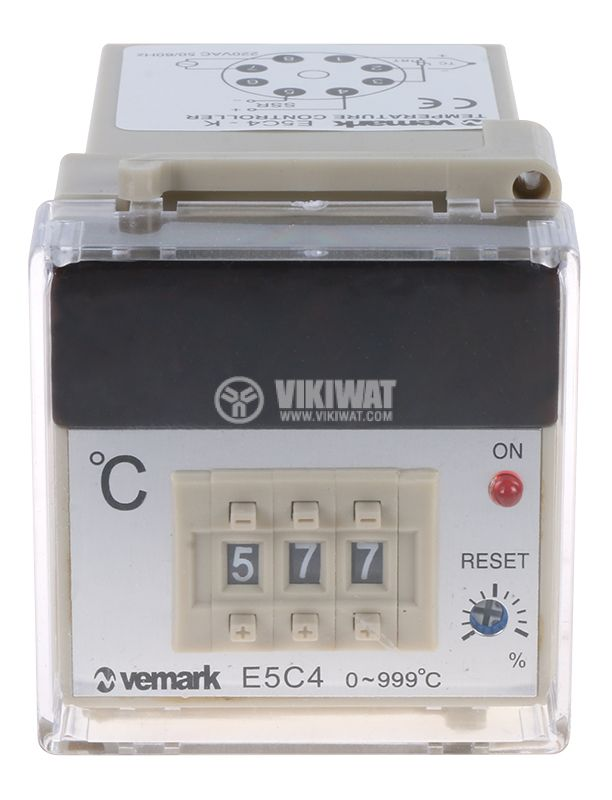 Temperature regulator, E5C4, 220 VAC, 0° C to 999 °C, thermocouple type K, SSR output - 2