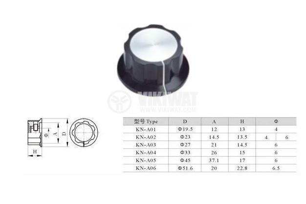 Копче за потенциометър 33x15 с фланец и индикатор - 4