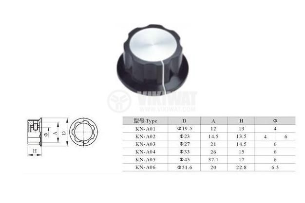 Potentiometer knob 23x13.5 with flange and indicator - 4