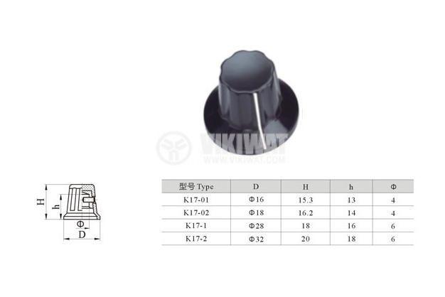 Копче за потенциометър Ф28х18 mm с фланец и индикатор, черно
