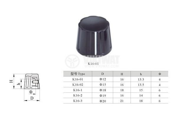 Копче за потенциометър Ф18x18 mm, цилиндрично