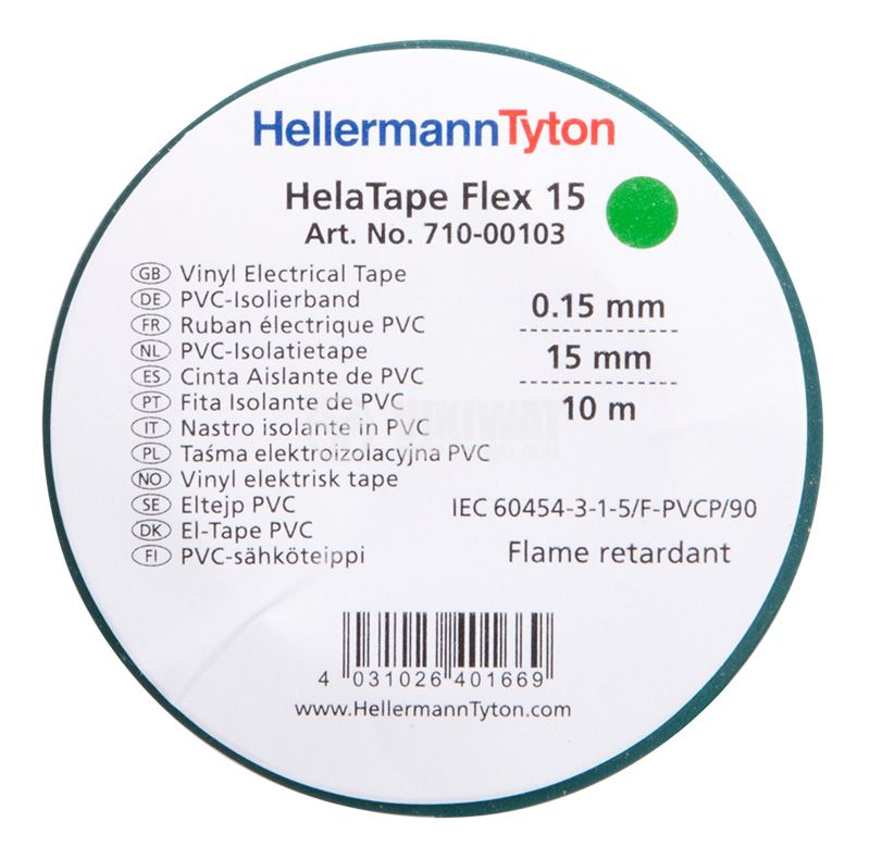 PVC insulating tape, insulating tape, HELATAPE FLEX 15, 15MM X 10M, green - 2