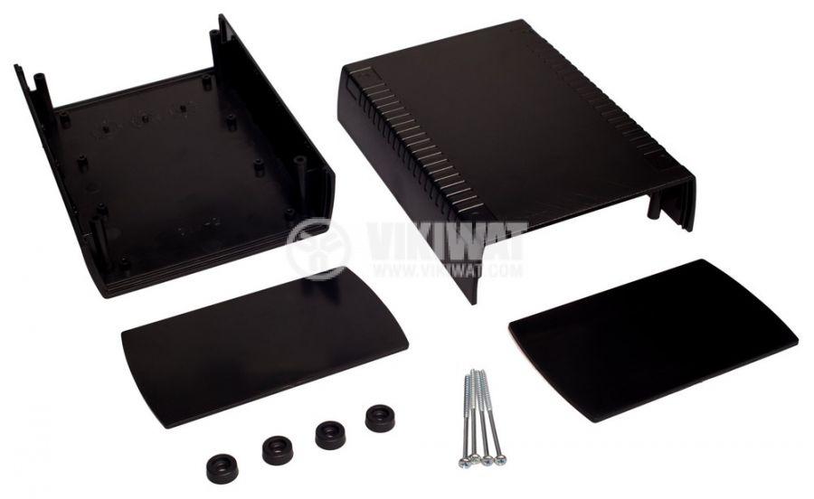 Кутия за електроника с вентилация и странични панели, Kradex Z39W, черна - 6
