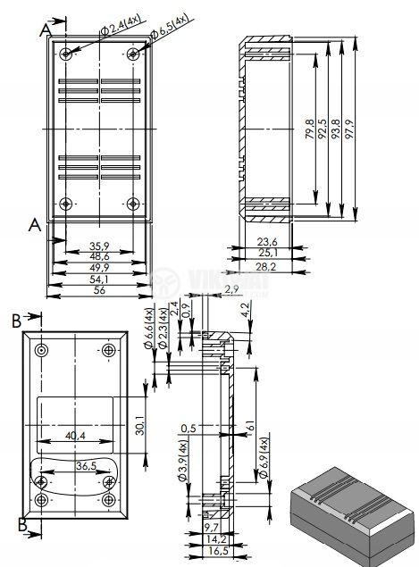 Кутия Z-45P полистирен черна 100x56x43 - 2