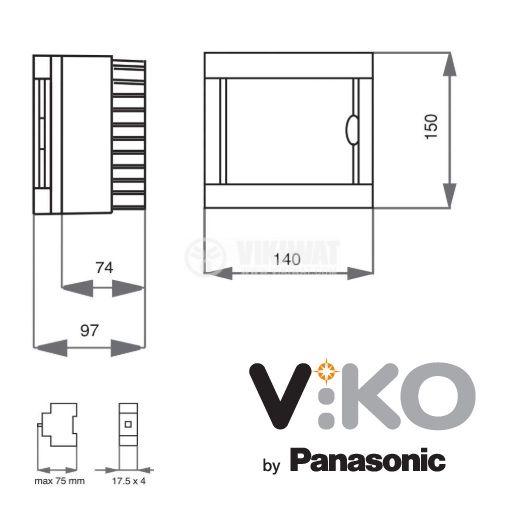 Апартаментно табло, 4 модула, VIKO by Panasonic, за външен монтаж, IP40, влагозащитено, бял цвят, 90912104 - 2