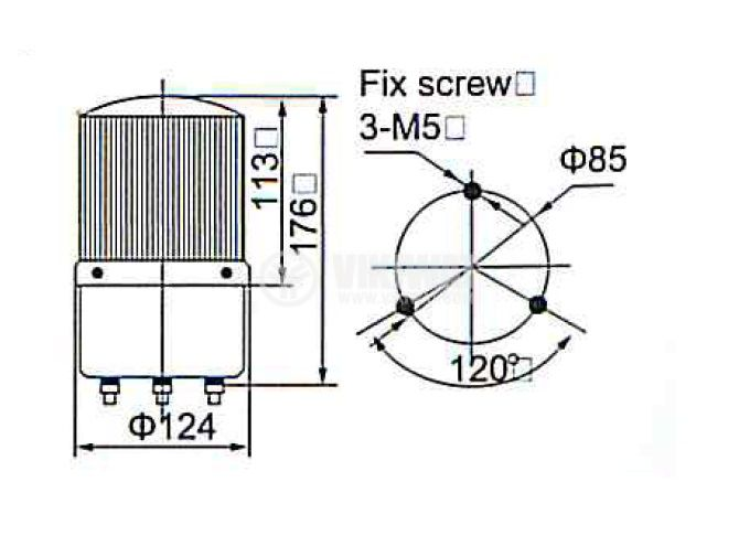 Signal rotating beacon, LTE-1121, 24 VDC, 10 W, blue - 2