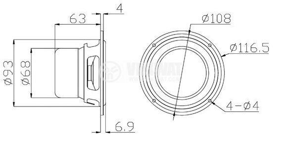 Broadband speaker M4N, 15W, 8 ohm, f108 x63 mm - 4
