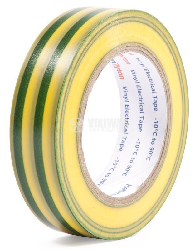 PVC ИЗОЛАЦИОННА ЛЕНТА HTAPE-FLEX15-15x10-PVC-GNYE, 15MM X 10M, жълто-зелена - 1
