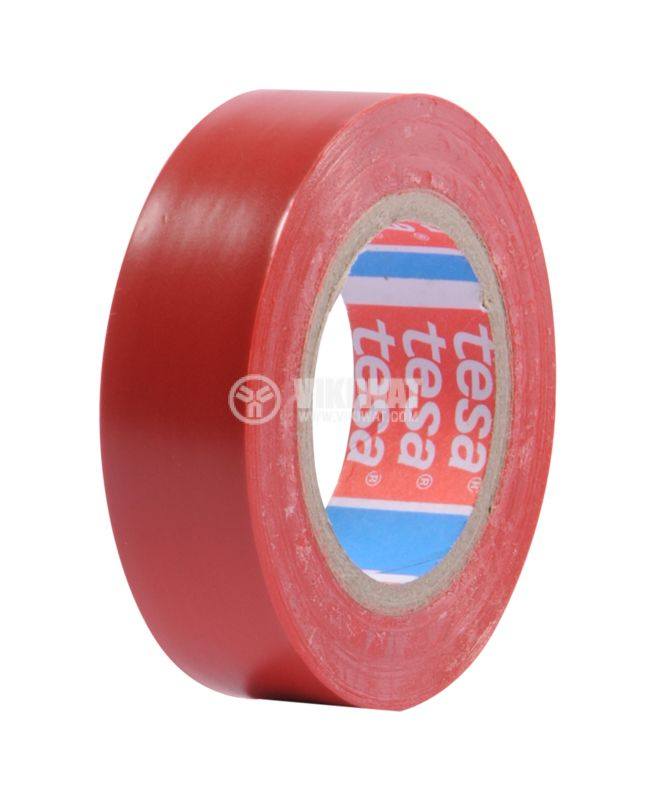 Electrical tape, TESA, red, 10m, 15mm, 0.12mm