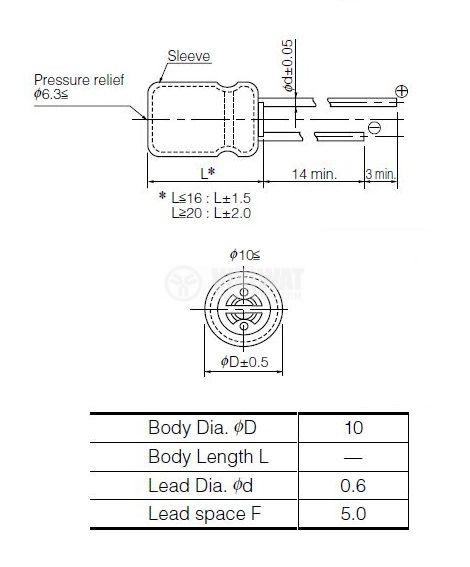 Кондензатор електролитен 10 V, 1500 µF, Ф10x16 mm, low ESR - 2
