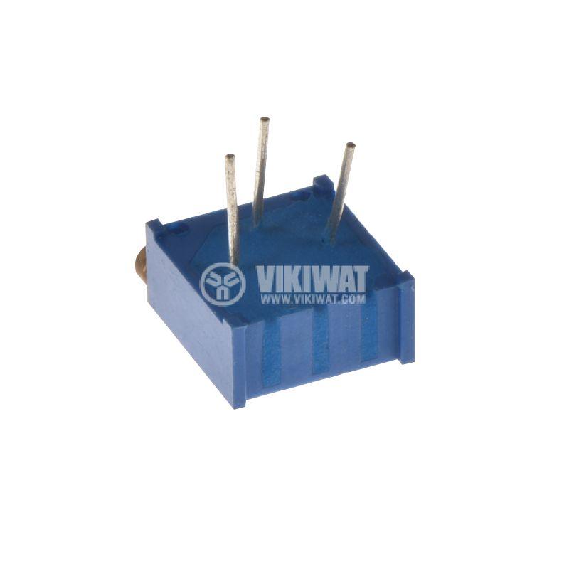 Тример потенциометър 220kOhm, 0.5W, многообoротен, хоризонтален, жичен, THT - 3