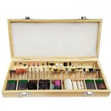 Polishing accessories set, 200 pieces, wooden case