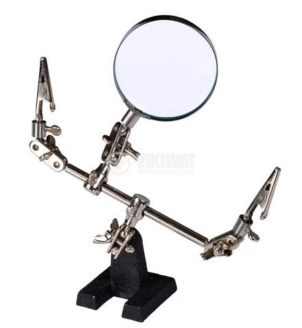 Helping hand tool with magnifying and clips, 5x, 60mm