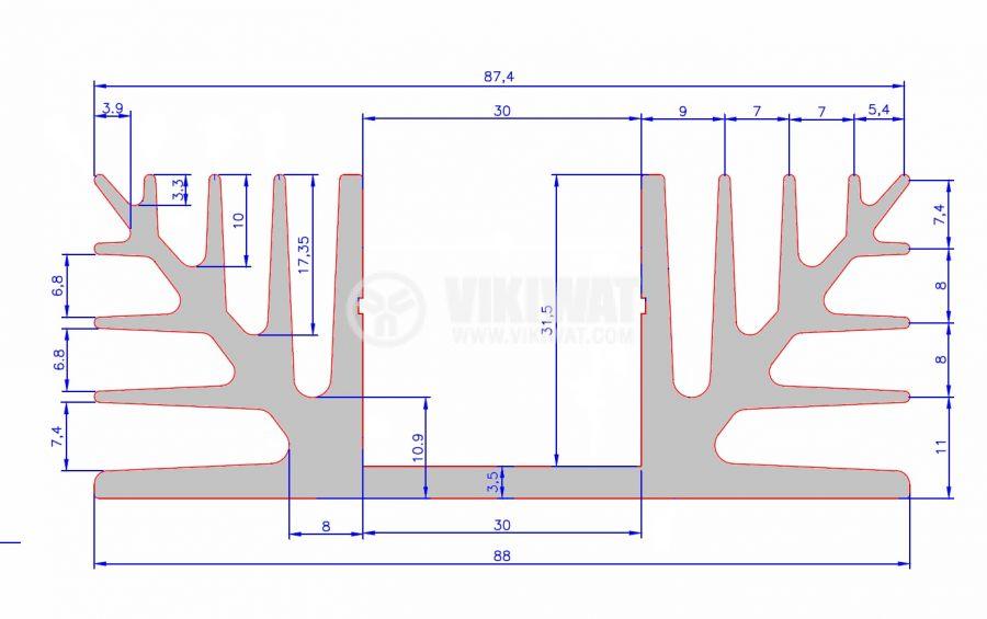 Aluminium cooling radiator 1000x88x55mm - 3