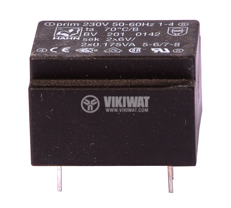 PCB Transformer 230 / 2 х 6 VAC, 2 х 0.175 VA - 1