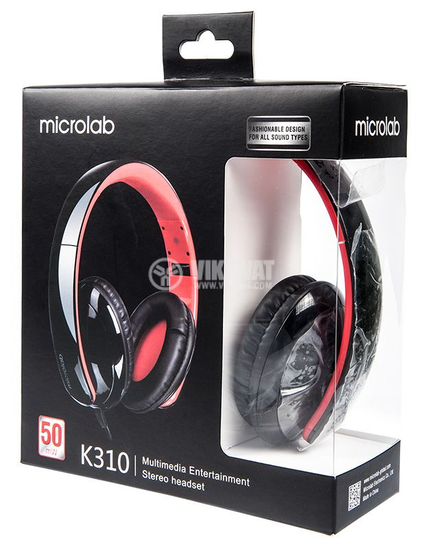 Microlab K310 Lightweight Stereo Headset, 50mW, 108dB - 5