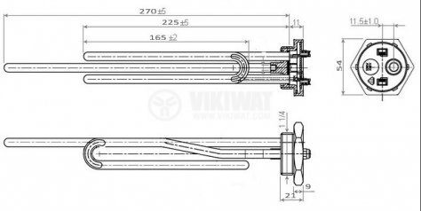 Electric heater tubular for boilers 2000 W, 240 VAC, ф 8 mm - 2