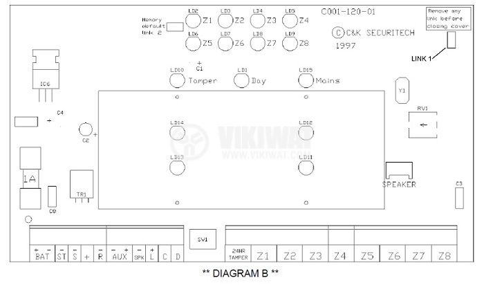 Security control panel S802 220VAC 12VDC/2 4Ah  - 3
