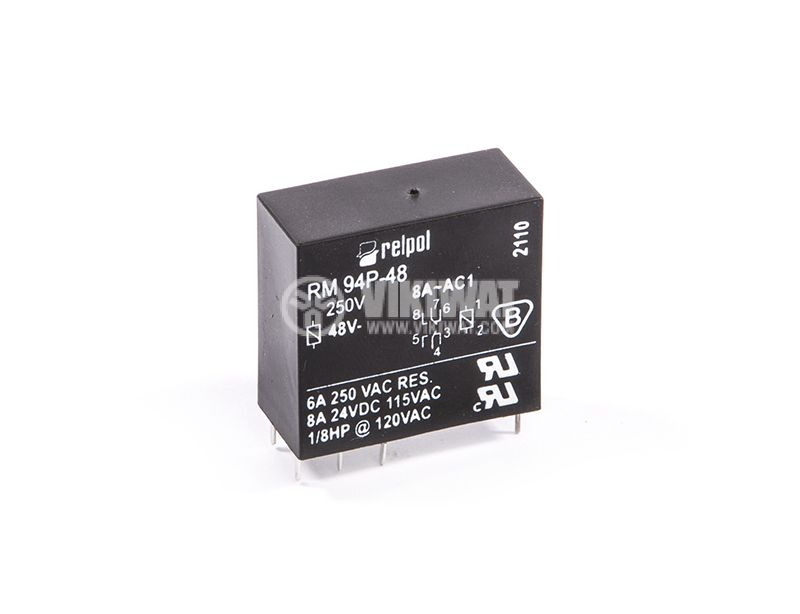 Electromagnetic relay RM 94P-48, 48VDC, 8A, 250VAC, 2NO+2NC, DPDT, PCB - 1