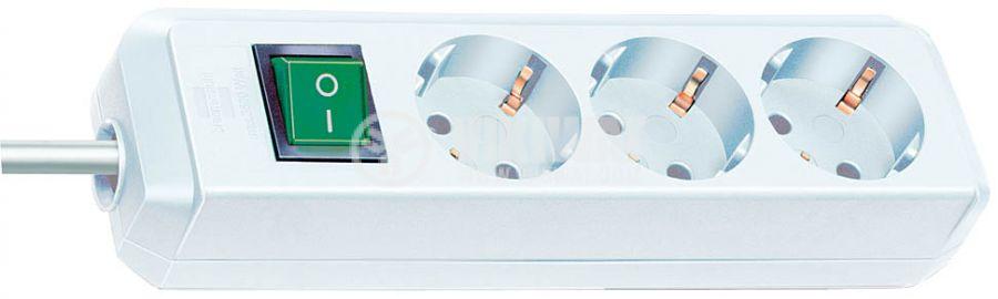 Разклонител 3-ка, 1.5m, 3х1.5 mm2, с ключ, бял - 1