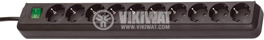 Разклонител 10-ка, 3m кабел, черен с ключ - 1