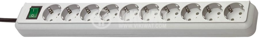 10-Way Power Strip 3m light grey with switch - 1