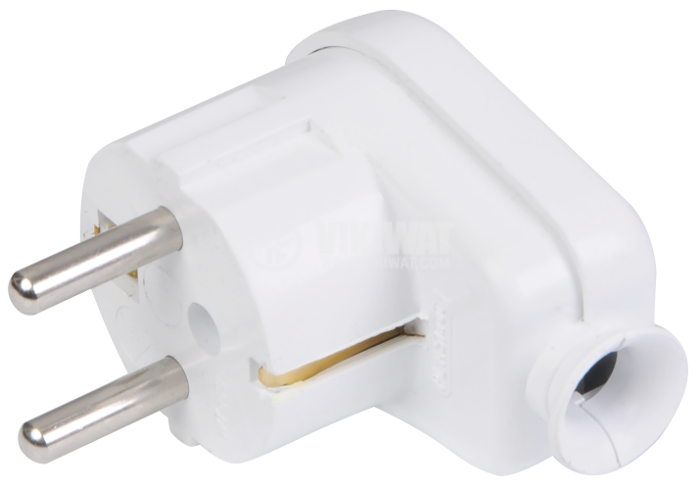 Electrical Schuko Plug, 16 A, 250 VAC, white, round, with grounding