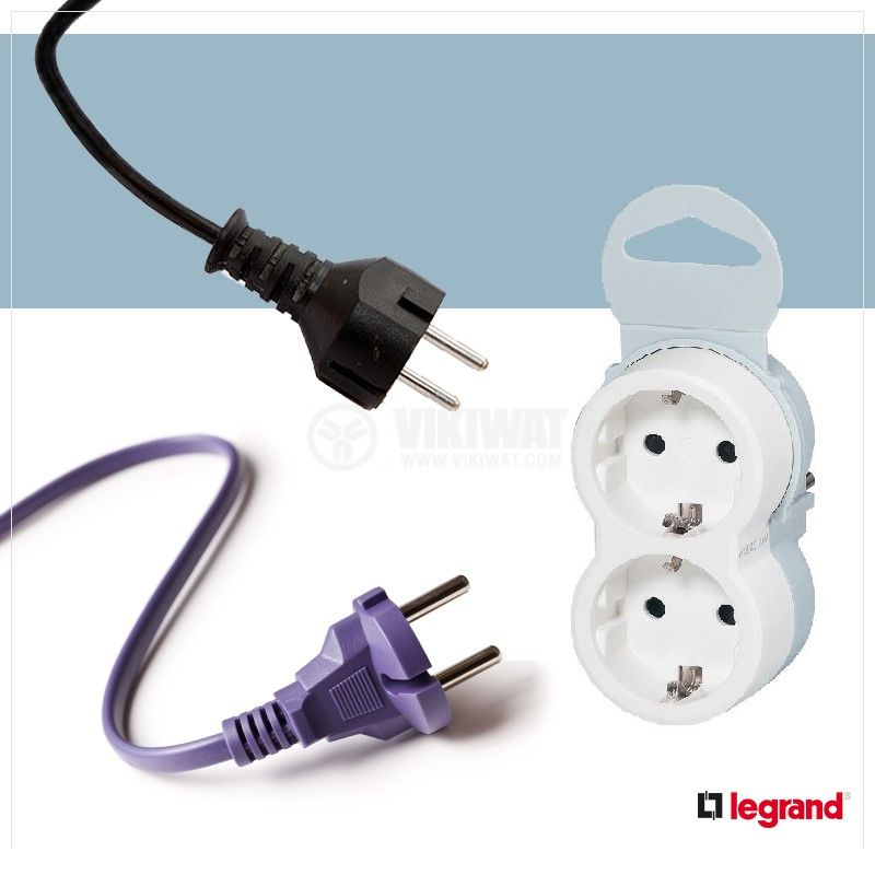 2-way Power plug socket, 16А, 230VAC, 3680W, white/grey, LEGRAND 050655 - 2