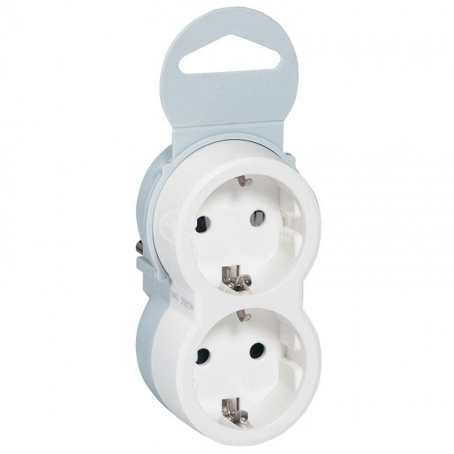 2-way power strip plug, LEGRAND, 50655, 250VAC, 16A, 3680W, white, cordless, LEGRAND - 1